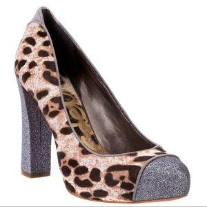 Sam Edelman Frances leopard & silver glitter pumps